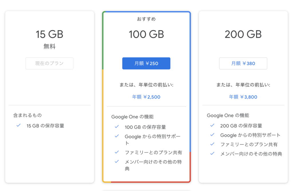 GoogleONE 料金